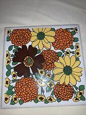 New listing Vintage Yu Ta Tile Trivet 60's 70's Flowers Orange Yellow Daisies Marigolds 6x6�