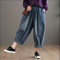 Women Vintage Denim Wide-leg Harem Pants Jeans Cowboy Baggy Loose Casual Trouser