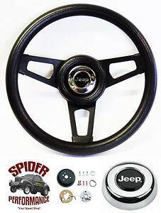 "1976-1986 CJ5 CJ7 steering wheel JEEP 13 3/4"" BLACK 3 SPOKE"