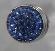 Blue Rhinestone Flat 12mm Noosa Style Snap Button Chunk