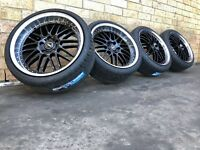 20 Inch Simmons OM-1 Black Genuine Stagerred Wheels And Tyres To Suit Holden