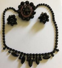 VINTAGE BLACK RHINESTONE MOURNING GOTH JEWELRY Goes With Everything 4 Piece LOT