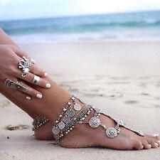 Silber Bohemian Barefoot Fußschmuck Fußkette mit Münze Hippie Boho Anklet