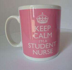 Keep Calm I'm a Student Nurse Gift Mug Cup Carry On Style Pink Nursing Present