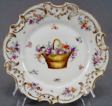 Helena Wolfsohn Dresden Hand Painted Floral Basket & Gold Reticulated Plate C