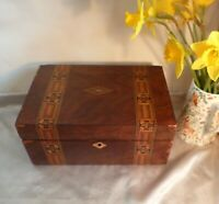 Antique Victorian Large Wood Box-Walnut Veneer and Parquetry and Tunbridge Ware