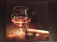 CIGAR WHISKEY SMOKE SCENE CANVAS Ready To Hang Wooden Framed 18x12inches