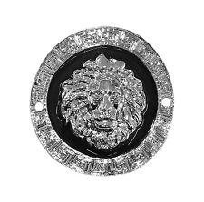 Connecteur tête de lion couleur argentée laqué noire,fioles,collier,perles-co052