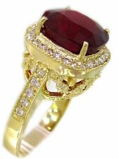 14K Yellow Gold CUSHION RUBY AND ROUND DIAMOND HALO BRIDAL PRONG RING 5.72CTW