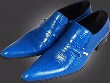 ou G CHELSY - italien designer Mocassins croco Design fait à la main bleu 40