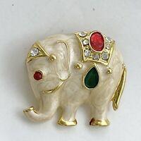 Vintage Trunk Up Elephant Brooch Gold Tone Marbled Enamel Rhinestones Rare Uniqu