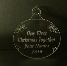 Personalised Our First Christmas Together tree decoration Engraved Bauble Gift