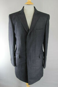 "BRAND NEW MEN'S WOOL RICH BLEND CHARCOAL 'PUPPYTOOTH' CHECKED OVERCOAT 38"" & 44"""