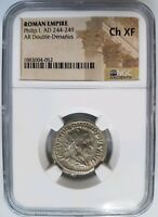 Philip I Roman Empire 244-249 AD NGC CH XF Double Denarius Ancient Angel Coin