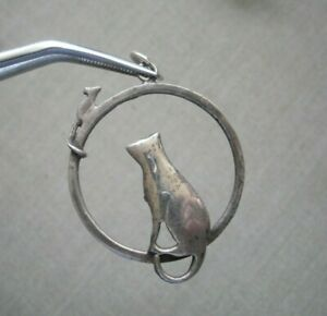 Cat & Mouse Vintage Sterling Silver Pendant ~ 3.2g