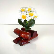 Handmade Wooden Table Vase with Artificial Flowers Home Decor Natural Wood Vase