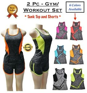Women's 2 Piece Tank Top + Shorts Stretch Workout Yoga Gym Running Athletic  Set