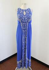 36dbbf3514 Soma Womens Blue Paisley Print Sleeveless Keyhole Soft Maxi Dress Size M  White
