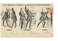 Paris Government Mayors Wearing Tuxedos at a Banquet Antique Postcard