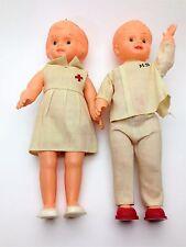 Vintage Pair of Plastic Frozen Charlotte Dolls Doctor and Nurse Hong Kong