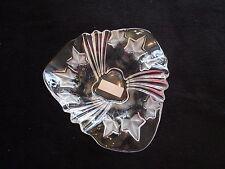 Mikasa Parisian Ivy Leaves Triangular Crystal Glass Fruit Flower Bowl Germany
