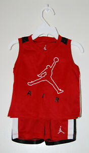NWT Air Jordan Infant Boys Red & Black 2pc Sleeveless Shirt & Short Set sz 12M