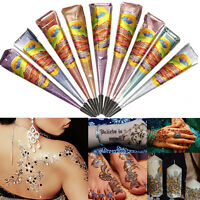 10 Color Natural Herbal Henna Cones Temporary Tattoo Body Art Paint Mehandi Ink