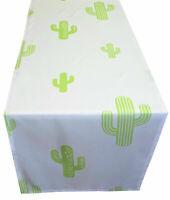 Tischdecke Tischläufer grün weiß Kaktus modern Stoff Sommer 40 x 140 cm