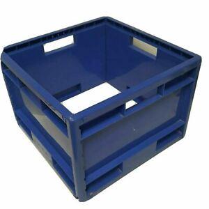 IKEA blue crate Ikea logo rare vintage retro square box handle sides plastic