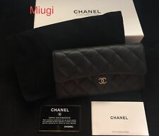 Authentic CHANEL Classic Long Flap Caviar Leather Wallet MPRS Mint Condition
