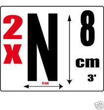 lot 2 lettres [N] Sticker autocollant noir hauteur 8cm Lettre adhésive en vinyle