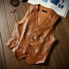 Mens Vest Waistcoat Leather Jacket Coat Tops Slim Fit Britain Style Casual Chic