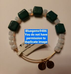 Alex and Ani Green and White Assorted Vintage Beaded - Russian Gold - Rare