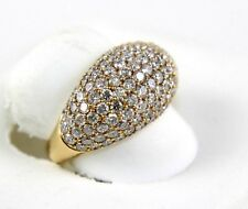 Fine Wide Cluster Diamond Pave Dome Cigar Ring Band 18k Rose Gold 3.18Ct