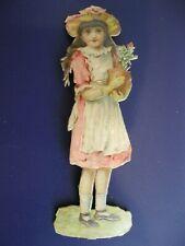 Victorian 1800's German Die Cut OUTSTANDING 4 Inch Girl with Garden Pot Scrap 36