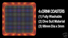 4  x  SCOTTISH TARTAN - CLAN - MacKENZIE - DRINK COASTERS - Re-usable Washable