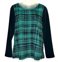 Ann Taylor LOFT Women's Long Sleeve Blouse Black/Green Geometric Top Size S