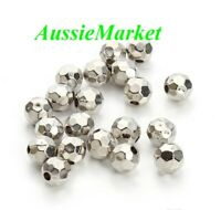 50 x beads acrylic silver colour faceted ball 8mm crafts loose spacer jewellery