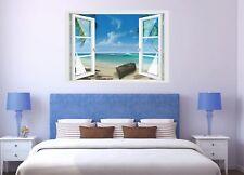 Wandtattoo Fenster 3D Optik Wandsticker Aufkleber Deko Bild - Strand Urlaub Meer