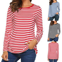 Women Long Sleeve Crew Neck Basic T-Shirt Striped Shirts Tunic Tee Top Blouse US