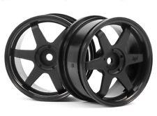 HPI Racing TE37 Black 6-Spoke 26mm 1/10 Touring Car Wheels -3mm Offset HPI3836