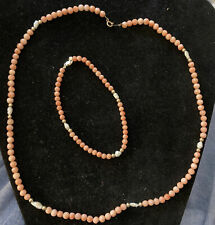 14k Yellow Gold And Angel Skin Coral Set Marked And Designer Signed Tranel