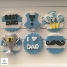 6 Fathers Day Edible Cupcake Toppers  Cake Decorations Best Dad Birthday No. 1
