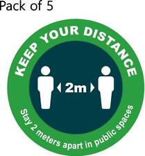 Social distance floor stickers - PACK OF 5 CIRCLE STICKERS READY TO USE