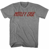 Motley Crue Official Logo T Shirt Mens Licensed Rock Roll Retro Band Sport Grey