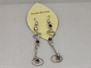 Ladies Fashion Earrings drop dangle pink stone costume jewellery