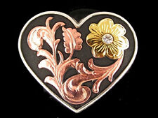 "Western Equestrian Decor Copper Heart Gold Flower W/Crystal 1 1/2"" Concho's (6)"