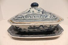 Beautiful Blue and White Porcelain Tureen with Saucer Blue Willow
