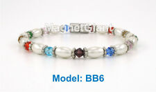 High power magnetic white hematite with multi color beads bracelet for healing
