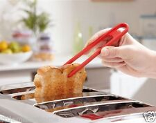 SILICONE TOAST TONG * BREAD BAGEL GRILL BBQ SERVING TOASTER HEAT RESISTANT